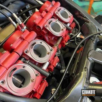 Motorcycle Carburetors Cerakoted Using Ruby Red