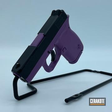 Two Toned Pistol Cerakoted Using Bright Purple
