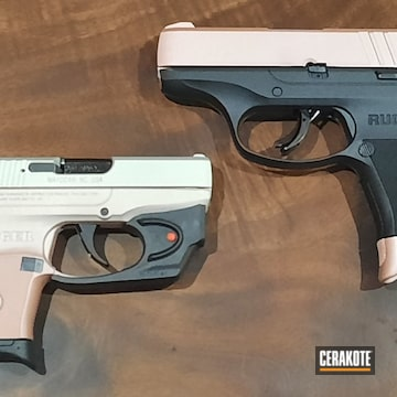 Ruger Lcp And Lc9 Pistols Cerakoted Using Rose Gold And Crushed Silver