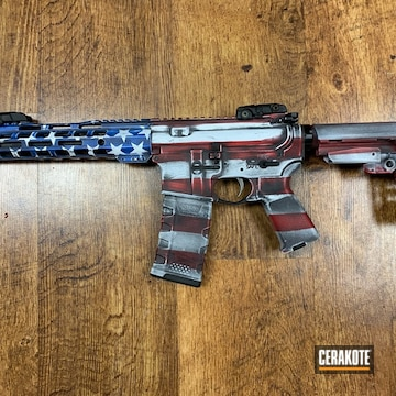 Distressed American Flag Themed Ar Cerakoted Using Armor Black, Stormtrooper White And Usmc Red