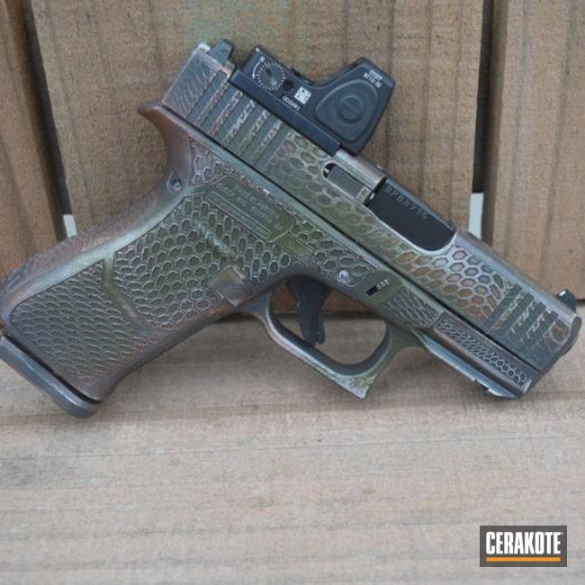 Custom Glock Cerakoted Using Troy® Coyote Tan, Noveske Bazooka Green And Hi-vis Orange