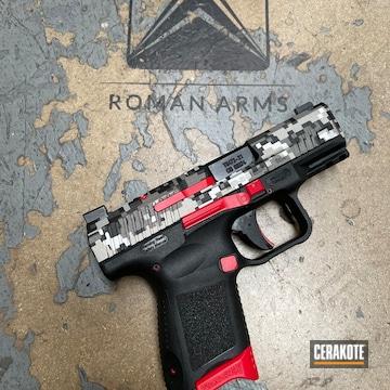 Digital Camo Canik Pistol Cerakoted Using Usmc Red, Titanium And Graphite Black