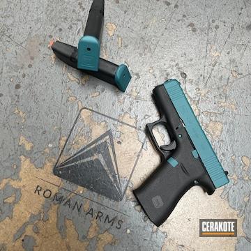 Glock 43x Cerakoted Using Satin Aluminum, Zombie Green And Sky Blue
