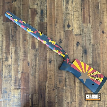 Digital Camo Rifle Frame Cerakoted Using Kel-tec® Navy Blue, Firehouse Red And Copper