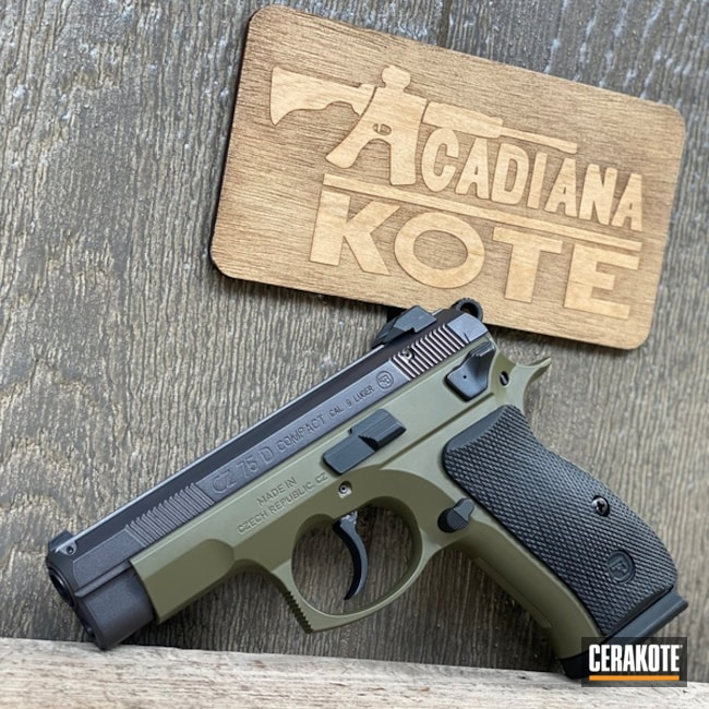 Cz 75 Pistol Cerakoted Using Moss And Carbon Grey