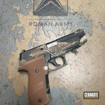 Vietnam Tiger Stiped Sig Sauer P226 Pistol Cerakoted Using Hazel Green, Light Sand And Graphite Black