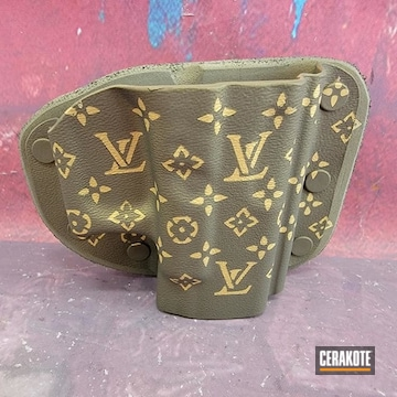 Louis Vuitton Themed Holster Cerakoted Using Burnt Bronze And Gold