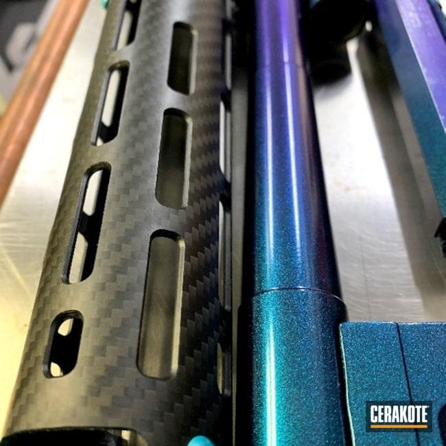Tactical Shotgun Cerakoted Using Cerakote Fx Typhoon, Graphite Black And Aztec Teal