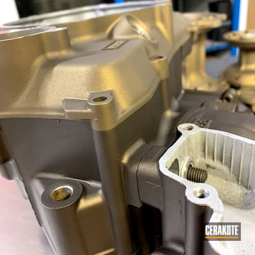 Motorcycle Engine Cerakoted Using Midnight Bronze, Gloss Black And Burnt Bronze