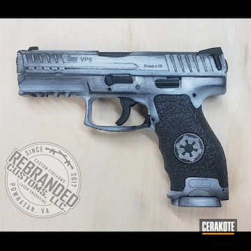 Distressed Hk Vp9 Pistol Cerakoted Using Stormtrooper White And Graphite Black