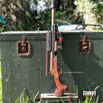 Zombie Apocalypse Shotgun Cerakoted Using Crimson, O.d. Green And Graphite Black