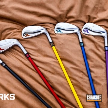Golf Putters Cerakoted Using Electric Yellow, Usmc Red And Prison Pink