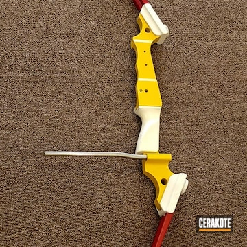 Compound Bow Cerakoted Using Snow White, Sunflower And Electric Yellow