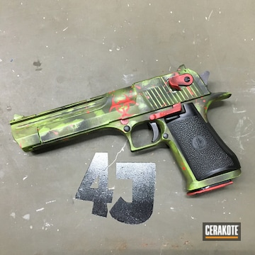 Distressed Desert Eagle Cerakoted Using Patriot Brown, Usmc Red And Zombie Green
