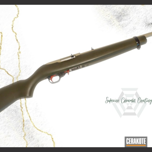 Ruger 10/22 Rifle Cerakoted Using Desert Sage And O.d. Green