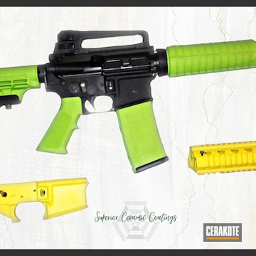 Ar Cerakoted Using Zombie Green And Corvette Yellow