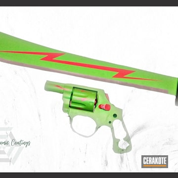 Machete And Revolver Cerakoted Using Zombie Green And Ruby Red