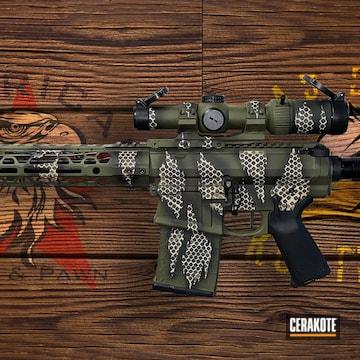 Reptile Camo Ar Build Cerakoted Using Armor Black, Desert Sand And Sniper Green