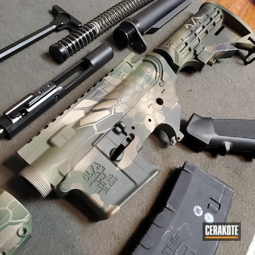 Kryptek Camo Ar Cerakoted Using Patriot Brown, Armor Black And Forest Green