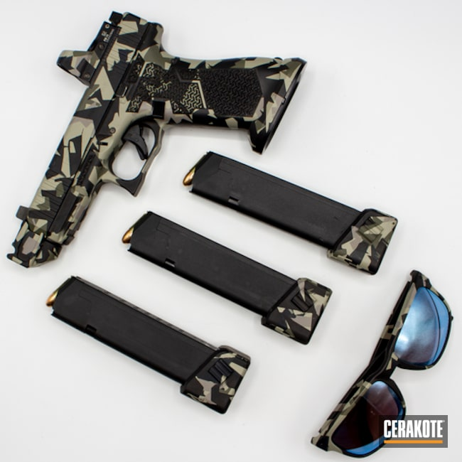 Splinter Camo Glock 45, Sunglasses And Magazines Cerakoted Using Magpul® Stealth Grey, Steel Grey And Desert Verde