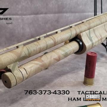 Mossberg 500 Shotgun Cerakoted Using Desert Sand, Coyote Tan And Graphite Black
