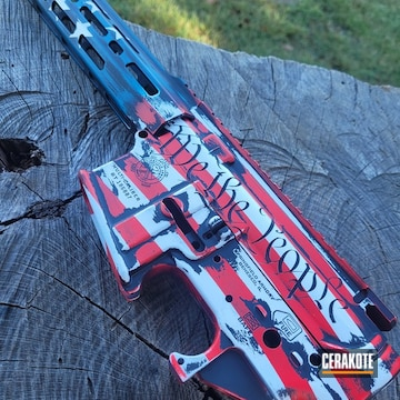 Distressed American Flag Ar Builders Set Cerakoted Using Stormtrooper White, Usmc Red And Sky Blue