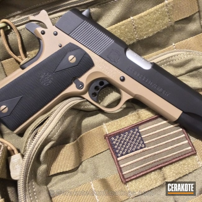 Mobile-friendly version of the 1st project picture. Springfield, 1911, Firearm, Armor Black H-190Q, Satin Aluminum H-151Q, Coyote Tan H-235Q