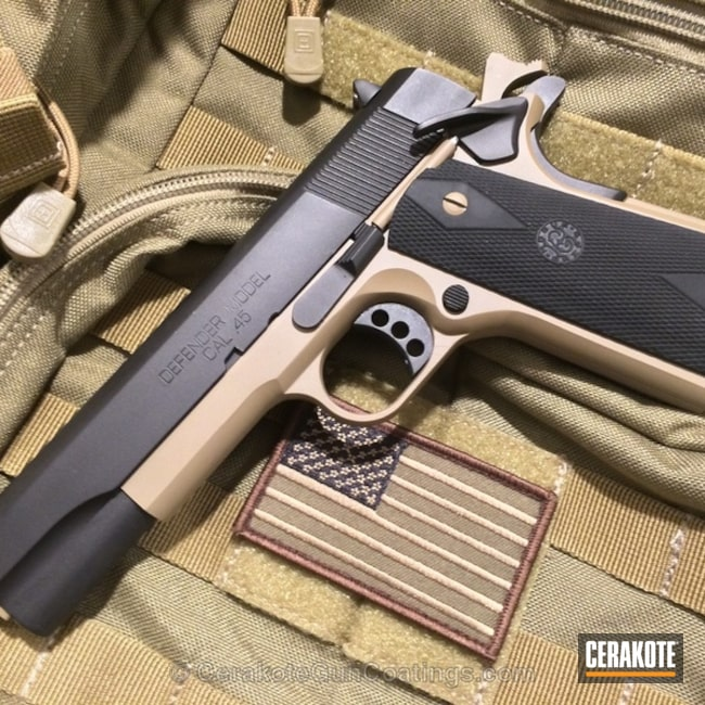 Mobile-friendly version of the 3rd project picture. Springfield, 1911, Firearm, Armor Black H-190Q, Satin Aluminum H-151Q, Coyote Tan H-235Q