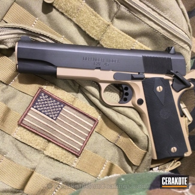 Mobile-friendly version of the 5th project picture. Springfield, 1911, Firearm, Armor Black H-190Q, Satin Aluminum H-151Q, Coyote Tan H-235Q