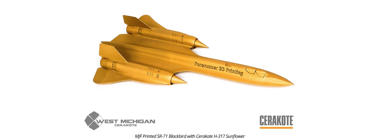 MJF 3D Printed Blackbird in H-317 Sunflower