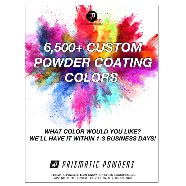 PRISMATIC POWDERS APPLIED HERE POSTER