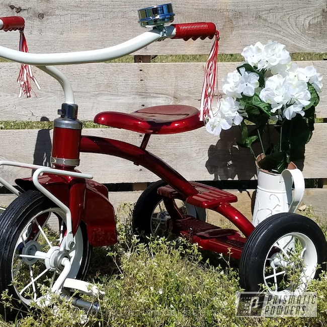 Powder Coating: Bicycles,Total Disassemble,SUPER CHROME USS-4482,chrome,RED GOLD DUST UPB-5812,50's Murray Tricycle Restoration,Sandblast,Whipped Pearl Step 1 PMB-6801,Prime,Multi Powder Application