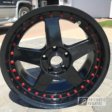 Powder Coated Black And Red Wheel