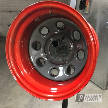 Powder Coated Wheels In Black And Red