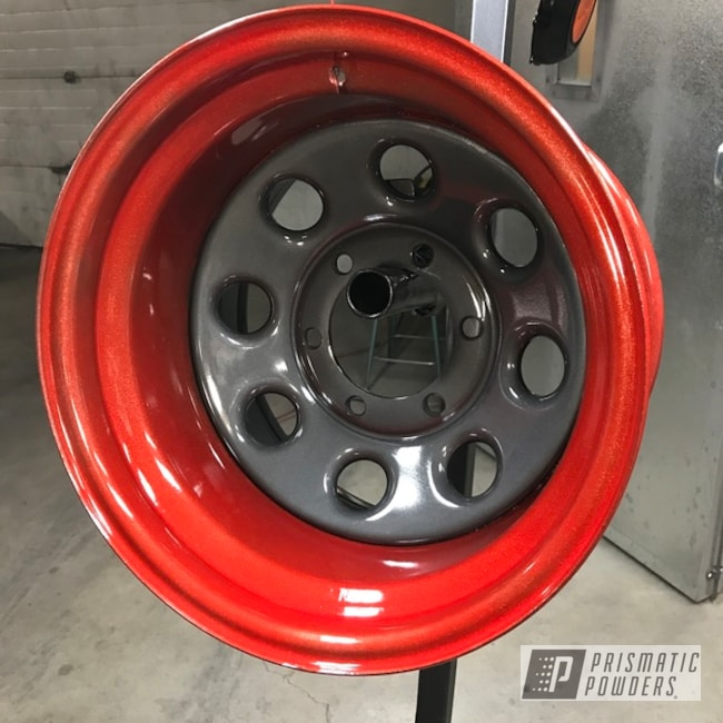 """Powder Coating: Wheels,Automotive,Clear Vision PPS-2974,Really Red PSS-4416,ULTRA BLACK CHROME USS-5204,16"""""""
