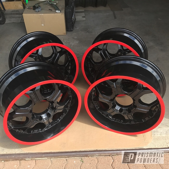 Powder Coating: Wheels,Matte Black PSS-4455,Automotive,4x4,Really Red PSS-4416,20""