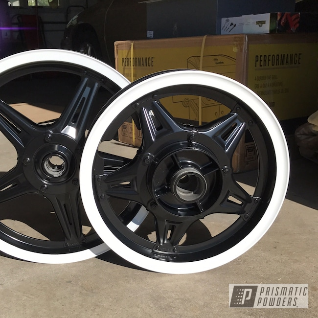 Powder Coating: Wheels,Matte Black PSS-4455,Motorcycle Wheels,Cloud White PSS-0408,Motorcycles,Staggered Wheels