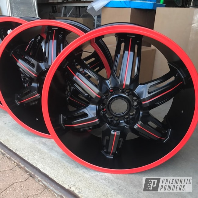 """Powder Coating: Wheels,18"""",Matte Black PSS-4455,Automotive,Really Red PSS-4416"""
