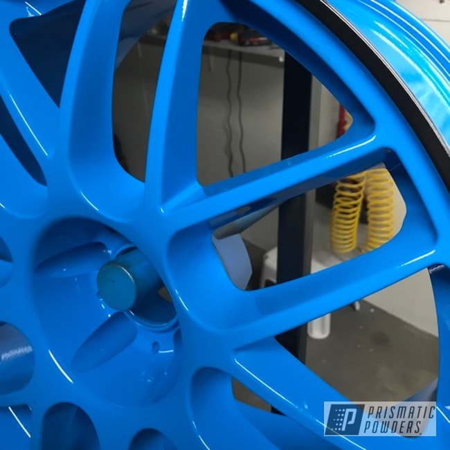 "Powder Coating: Wheels,18"",Matte Black PSS-4455,Automotive,Playboy Blue PSS-1715,Ford Mustang,Ford,Mustang"