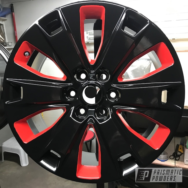 """Powder Coating: Wheels,18"""",Matte Black PSS-4455,Automotive,Really Red PSS-4416,Pickup,Ford"""