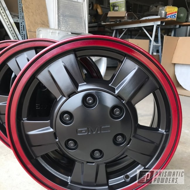 "Powder Coating: Wheels,Automotive,Clear Vision PPS-2974,BLACK JACK USS-1522,Chevrolet,Pickup,Illusion Cherry PMB-6905,16"""