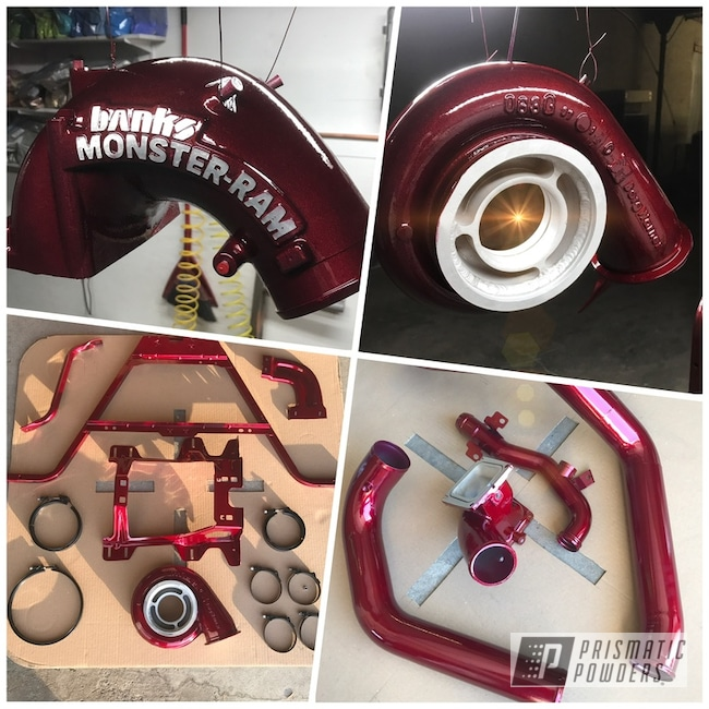 Powder Coating: Automotive,Clear Vision PPS-2974,Illusion Cherry PMB-6905,Diesel Parts,Duramax