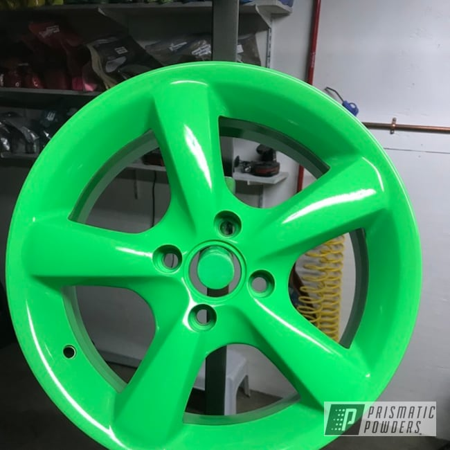 Powder Coated Neon Green Wheels