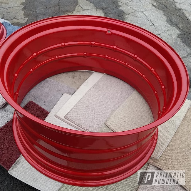 Powder Coating: Wheels,Clear Vision PPS-2974,Two Stage Application,Farm Equipment,Illusion Red PMS-4515,Illusions,Powder Coat Wheels