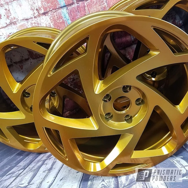 "Powder Coating: Wheels,Automotive,Transparent Powder Coating,SUPER CHROME USS-4482,Two Stage Application,Custom Wheels,Aluminum Rims,Transparent Gold PPS-5139,19"" Aluminum Rims"