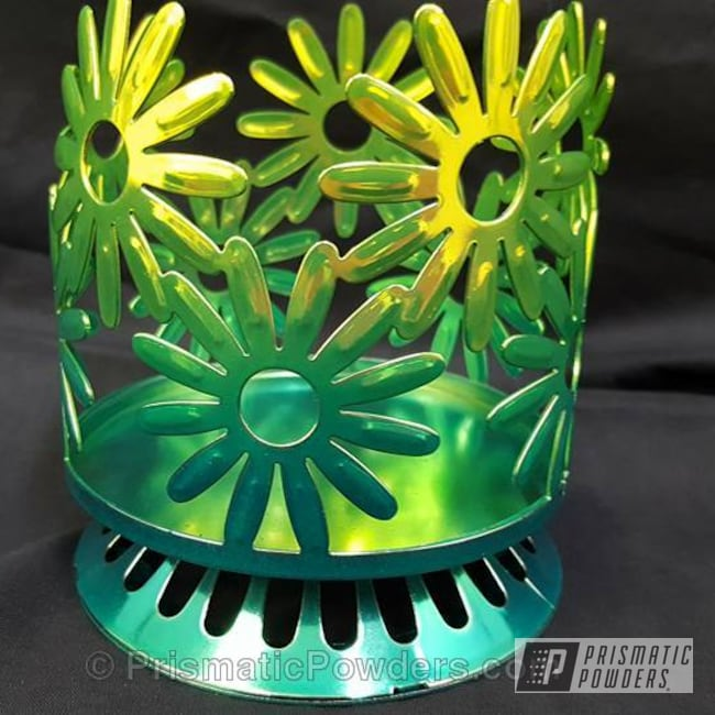 Powder Coating: AQUA CLEAR UPS-1680,Candle Holder,Two Coat Application,Shocker Yellow PPS-4765,Powder Coated Artwork,Miscellaneous