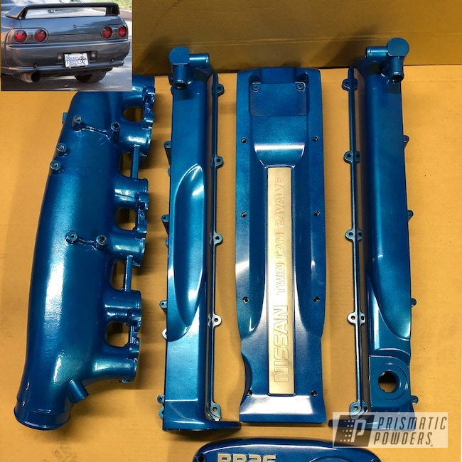 Powder Coating: Automotive,Clear Vision PPS-2974,Nissan,RB26,Illusion Lite Blue PMS-4621,Engine Parts