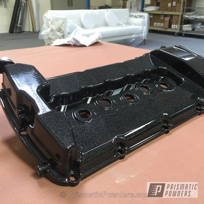 Powder Coating: Automotive,Clear Vision PPS-2974,Two Coat Application,VW Black PMB-2650,Valve Cover