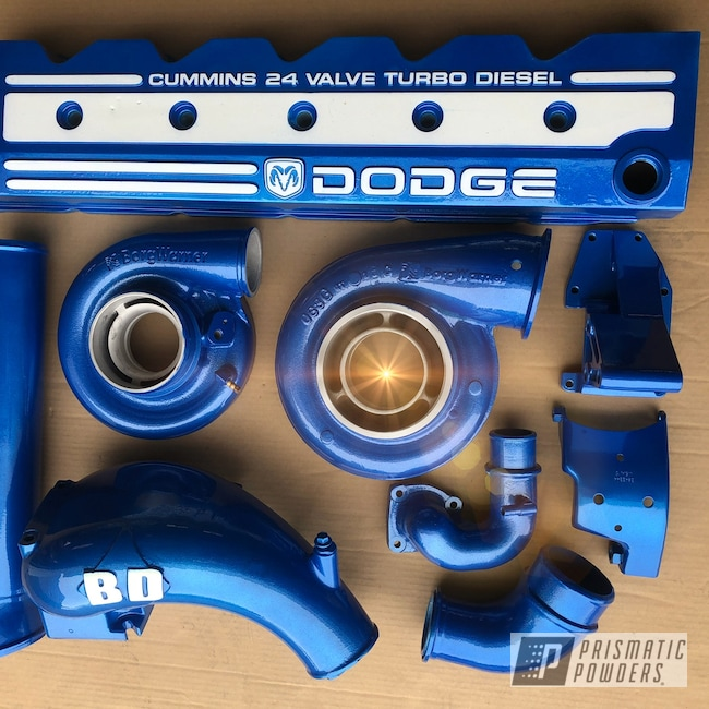 Powder Coating: Illusion Blue-Berg PMB-6910,Dodge Cummins,Clear Vision PPS-2974,Powder Coated Cummins Engine Parts,Dodge,Cummins,Cloud White PSS-0408,Engine Parts,Cummins Cover