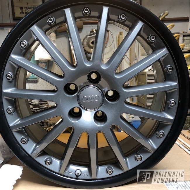 "Powder Coating: Matte Black PSS-4455,Automotive,Audi Wheels,18"",Audi,18"" Wheels,Two Tone,ULTRA BLACK CHROME USS-5204,Custom Audi Wheels,Two Toned"